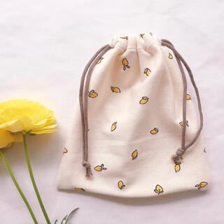 ハンドメイド レモン巾着 韓国 韓国生地 コップ袋 巾着(外出用品)