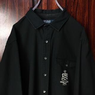 Ralph Lauren - 90s ラルフローレン 刺繍ロゴ シャツ 黒 XL ビッグシルエット