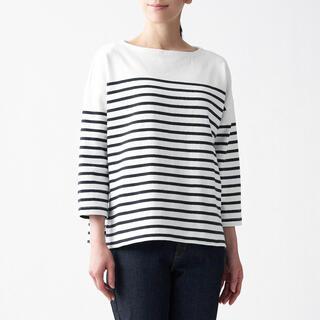 MUJI (無印良品) - 無印良品【新品・新作】ボートネック七分袖Tシャツ