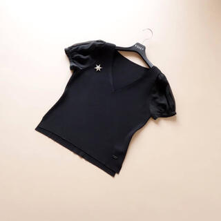 FOXEY - ■FOXEY■ 42 Chiffon Sleeves 黒 ニットトップス