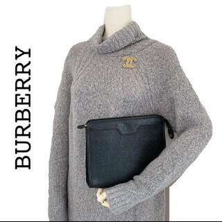 バーバリー(BURBERRY)のburberry  バーバリー 本革 レザー クラッチバッグ ハンドバッグ 黒(クラッチバッグ)