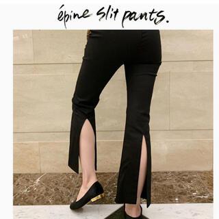 ベリーブレイン(Verybrain)のepine back slit pants black(カジュアルパンツ)