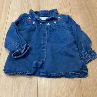 ザラ(ZARA)のZara baby 刺繍 デニムシャツ 80 90 トップス 春服(シャツ/カットソー)