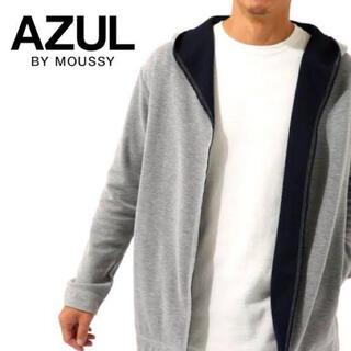 AZUL by moussy - アズール マウジー カノコ天竺 フードカーディガン ロングスリーブ グレー