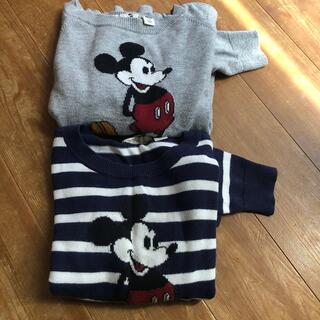 Disney - ニット セーター長袖 ミッキー ボーダー オソロ110.100 2枚セット 古着