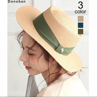 【新品】donoban カンカン帽 麦わら帽子(麦わら帽子/ストローハット)