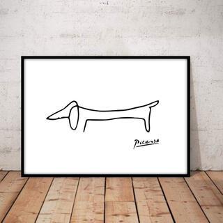 新品 絵画 アート 絵 アートポスター アートパネル ピカソ 犬の絵 犬