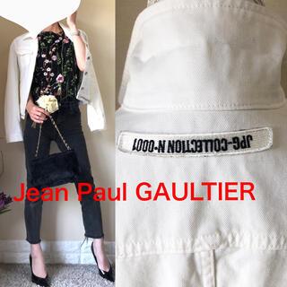 Jean-Paul GAULTIER - ジャンポールゴルチェジーンズ JPG ロゴ ホワイトデニム ジャケット 白 L