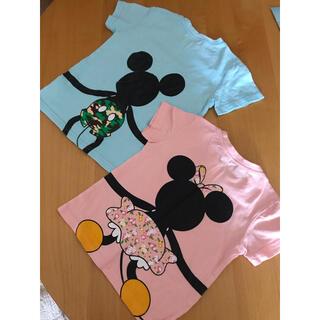 ディズニー(Disney)の兄妹おそろい つながる半袖Tシャツ ミッキー &ミニー(Tシャツ/カットソー)