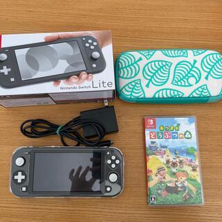 ニンテンドースイッチ(Nintendo Switch)のNintendo Switch Liteグレー どうぶつの森セット(家庭用ゲーム機本体)