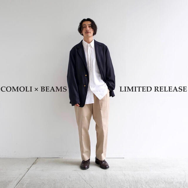 COMOLI(コモリ)の21SS comoli×BEAMS別注 チノパンツ サイズ2 新品タグ付 メンズのパンツ(チノパン)の商品写真