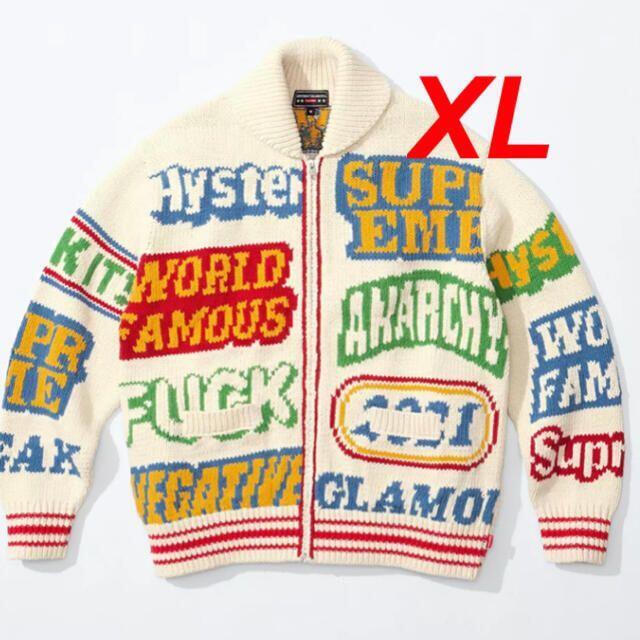 Supreme(シュプリーム)のSupreme HYSTERIC Logos Zip Up Sweater XL メンズのトップス(ニット/セーター)の商品写真