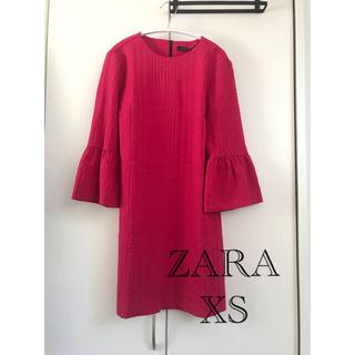 ZARA - ZARA 春秋ワンピ ジャガード ローズピンク