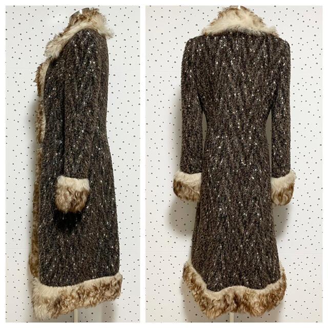 DOLCE&GABBANA(ドルチェアンドガッバーナ)の本物 ドルチェ&ガッバーナ ファー付 ニット ロングコート ジャケット ドルガバ レディースのジャケット/アウター(毛皮/ファーコート)の商品写真