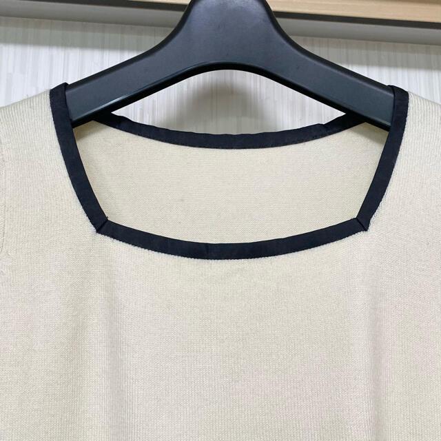 Apuweiser-riche(アプワイザーリッシェ)のアプワイザーリッシェ  バイカラースクエアネック半袖ニット レディースのトップス(ニット/セーター)の商品写真
