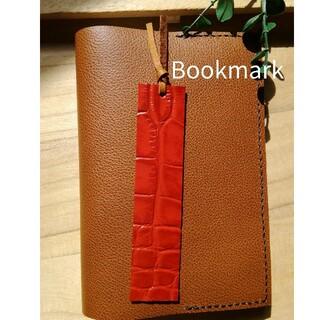 革のしおり Bookmark 赤 型押し シンプルDesign(しおり/ステッカー)