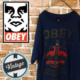 オベイ(OBEY)の【レア】オベイ☆デカロゴ ゆるだぼ Lサイズ ブランドロゴ(Tシャツ/カットソー(半袖/袖なし))