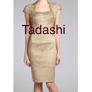 TADASHI SHOJI - 美品 タダシショージ スパンコールベージュゴールド ワンピース ミニドレス