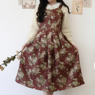 F i.n.t - フィント カーテンフラワー柄ジャンパースカート