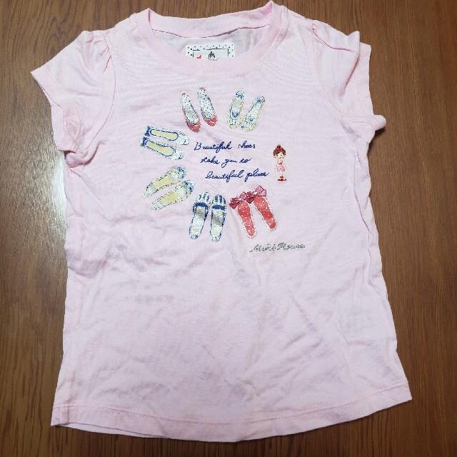 mikihouse(ミキハウス)のリーナちゃん Tシャツ 100 ピンク キッズ/ベビー/マタニティのキッズ服女の子用(90cm~)(Tシャツ/カットソー)の商品写真