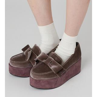 メリージェニー(merry jenny)のmerry jenny / ベロアリボンシューズ(ローファー/革靴)