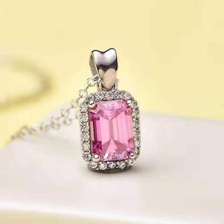 【newデザイン】輝く ピンク モアサナイト ダイヤ ネックレス K18WG
