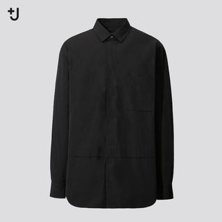 ユニクロ(UNIQLO)のジルサンダー コラボ +J スーピマコットン オーバーサイズシャツ Sサイズ 黒(シャツ)