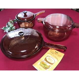 パイレックス(Pyrex)のビジョン パイロセラム コーニング 岩城硝子 蓋付きフライパン26cm両手片手鍋(鍋/フライパン)