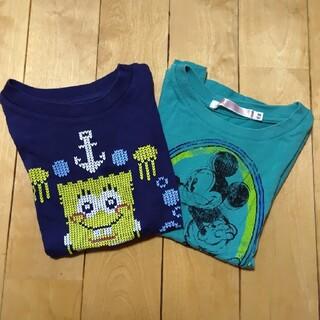 UNIQLO - 100☆UNIQLO☆UT☆Tシャツ2枚セット☆ミッキー☆スポンジボブ