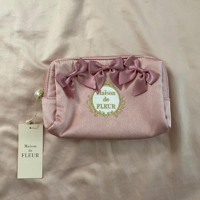 Maison de FLEUR(メゾンドフルール)のMaison de FLEUR ピンクピンク リボンポーチ レディースのファッション小物(ポーチ)の商品写真