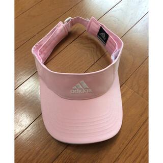 アディダス(adidas)のサンバイザー 帽子  アディダス adidas  ピンク色  フリーサイズ 美品(その他)
