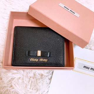 miumiu - miumiu 正規品 クリスタルリボン二つ折り財布