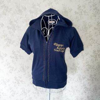 repipi armario - 〈ほぼ新品〉repipi armario 半袖ロゴパーカー 紺色 ビジュー付き