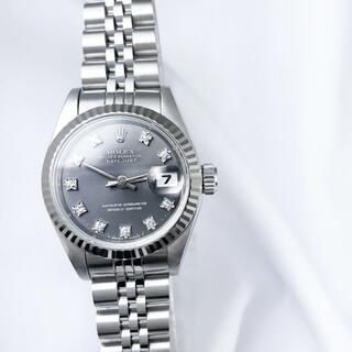 ロレックス(ROLEX)の【仕上済】ロレックス 10P ダイヤ グレー シルバー レディース 腕時計(腕時計)