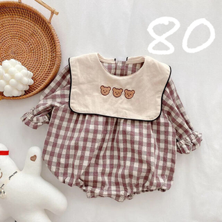 petit main - 韓国子ども服 くま ギンガムチェックロンパース ピンク 80