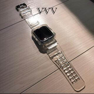 アップル(Apple)のアップルウォッチ 透明バンド クリアバンド 42mm/44mm対応(ラバーベルト)