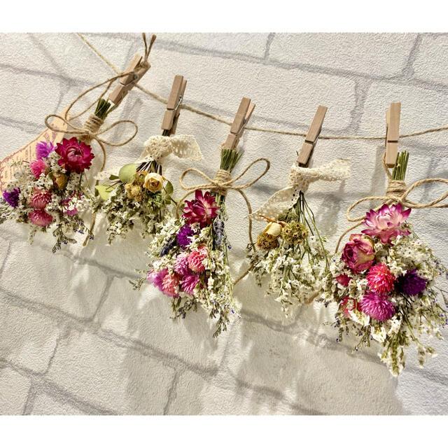 ドライフラワー スワッグ ガーランド❁191 薔薇ピンク白ヘリクリサム 花束♪ ハンドメイドのフラワー/ガーデン(ドライフラワー)の商品写真