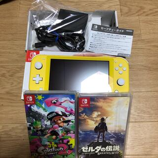 ニンテンドースイッチ(Nintendo Switch)のスイッチライト イエロー ほぼ新品 ソフト2本(携帯用ゲーム機本体)