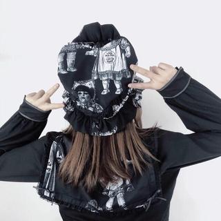 アンジェリックプリティー(Angelic Pretty)の骨董人形 黒白ボンネットとヘアゴムのセット ゴシックロリータ やみかわ  地雷系(ハンチング/ベレー帽)