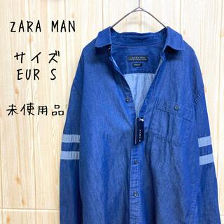 ZARA - 【ZARA MAN】シャツ(S) 長袖 デニム ボーダー slim fit