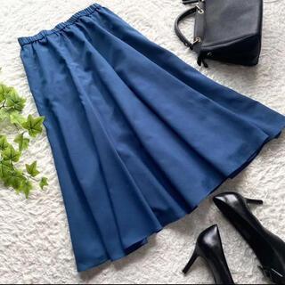 シビラ(Sybilla)のシビラ ロング フレア スカート ブルー 青 ウエスト総ゴム 日本製 美品 M(ロングスカート)