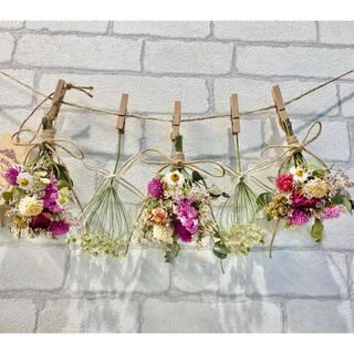 ドライフラワー スワッグ ガーランド❁192 薔薇ピンク白レースフラワー花束♪(ドライフラワー)