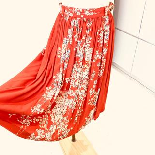 【レア品】しだれ桜・朱色・ギャザースカート・東洋エンタープライズ・着物とか和柄