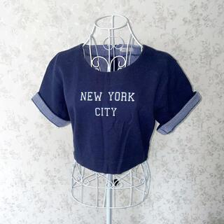 アイズビット(ISBIT)の〈ほぼ新品〉ISBIT ネイビーロゴTシャツ ボーダー ショート丈 M(Tシャツ(半袖/袖なし))