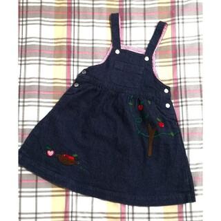 familiar - familiar りんご デニム ジャンパースカート ワンピース 100