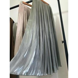 Adam et Rope' - 1.2万!上質箔ギャザープリーツロングスカート カーキ系