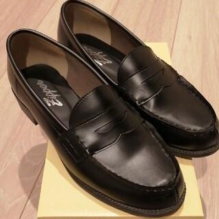 美品 ローファー 24cm 黒 通学 ビジネスシューズ 学生靴 男女兼用 革靴