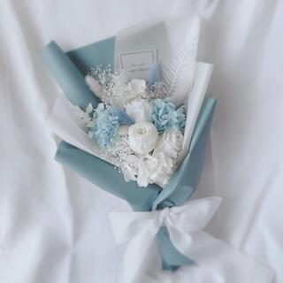 ブルー系 ドライフラワー ラッピングブーケ 花束 ブーケ ギフト 母の日(ドライフラワー)
