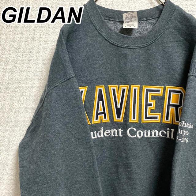 GILDAN(ギルタン)のMサイズ 古着 ギルダン トレーナー 英文 プリント メンズライク レトロ メンズのトップス(スウェット)の商品写真