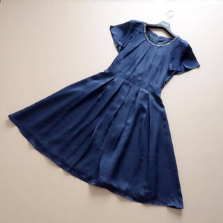 ANAYI - ■アナイ■ 36 ビジュー 濃紺 フレアワンピース
